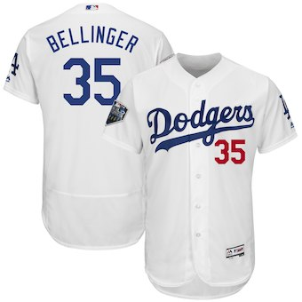 Men's Los Angeles Dodgers #35 Cody Bellinger Majestic White 2018 World Series Flex Base Player Jersey