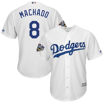 Men's Los Angeles Dodgers #8 Manny Machado Majestic White 2018 World Series Cool Base Player Jersey
