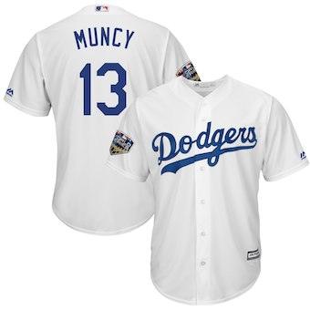 Men's Los Angeles Dodgers #13 Kenley Jansen Majestic White 2018 World Series Cool Base Player Jersey