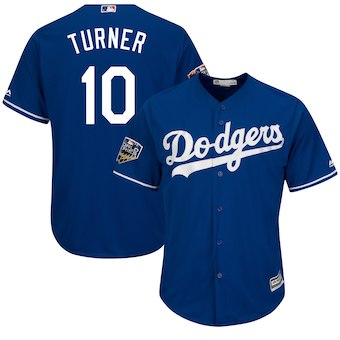 Men's Los Angeles Dodgers #10 Justin Turner Majestic Royal 2018 World Series Cool Base Player Jersey