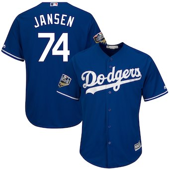 Men's Los Angeles Dodgers #74 Kenley Jansen Majestic Royal 2018 World Series Cool Base Player Jersey