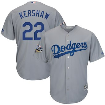 Men's Los Angeles Dodgers #22 Clayton Kershaw Majestic Gray 2018 World Series Cool Base Player Jersey