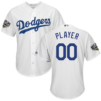 Men's Los Angeles Dodgers Majestic White 2018 World Series Cool Base Custom Jersey