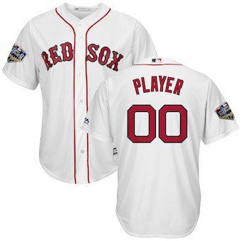 Men's Boston Red Sox Majestic White 2018 World Series Cool Base Custom Jersey