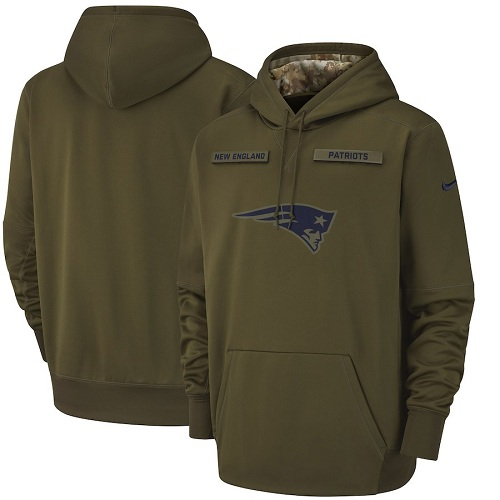 Men's New England Patriots Nike Olive Salute to Service Sideline Therma Performance Pullover Hoodie