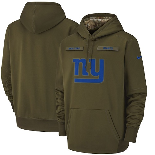 Men's New York Giants Nike Olive Salute to Service Sideline Therma Performance Pullover Hoodie