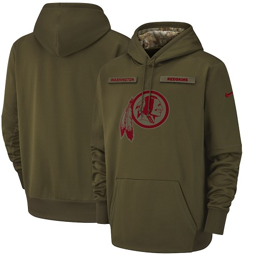 Men's Washington Redskins Nike Olive Salute to Service Sideline Therma Performance Pullover Hoodie