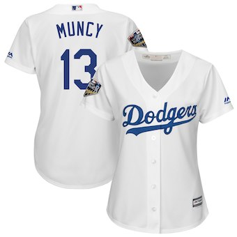 Women's Los Angeles Dodgers 13 Max Muncy Majestic White 2018 World Series Jersey