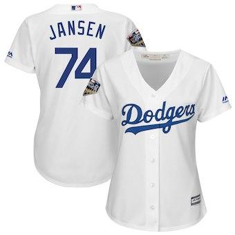 Women's Los Angeles Dodgers 74 Kenley Jansen Majestic White 2018 World Series Jersey