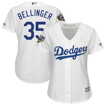 Women's Los Angeles 35 Dodgers Cody Bellinger Majestic White 2018 World Series Jersey