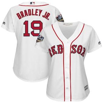 Women's Boston Red Sox 19 Jackie Bradley Jr. Majestic White 2018 World Series Cool Base Player Jersey