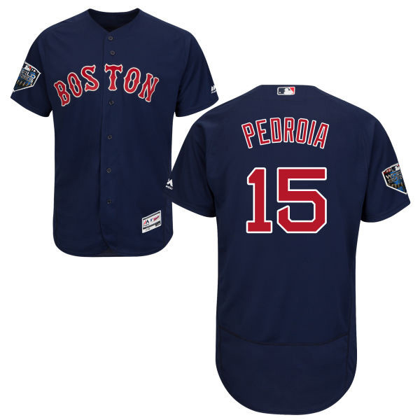 Red Sox #15 Dustin Pedroia Navy Blue Flexbase Authentic Collection 2018 World Series Stitched MLB Jersey