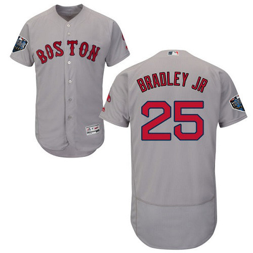 Red Sox #25 Jackie Bradley Jr Grey Flexbase Authentic Collection 2018 World Series Stitched MLB Jersey