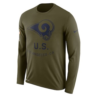 Men's Los Angeles Rams Nike Olive Salute to Service Sideline Legend Performance Long Sleeve T-Shirt