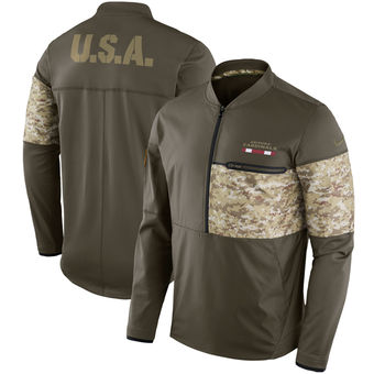 Nike Arizona Cardinals Olive Salute to Service Sideline Hybrid Half-Zip Pullover Jacket