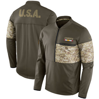 Nike Kansas City Chiefs Olive Salute to Service Sideline Hybrid Half-Zip Pullover Jacket