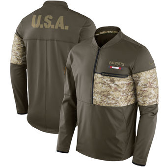 Nike New England Patriots Olive Salute to Service Sideline Hybrid Half-Zip Pullover Jacket