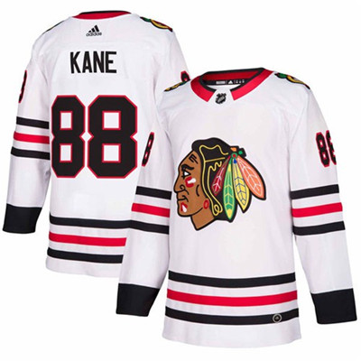 Adidas Blackhawks #88 Patrick Kane White Road Authentic Stitched NHL Jersey