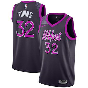Men's Minnesota Timberwolves #32 Karl-Anthony Towns Nike Purple 2019 Swingman Jersey City Edition