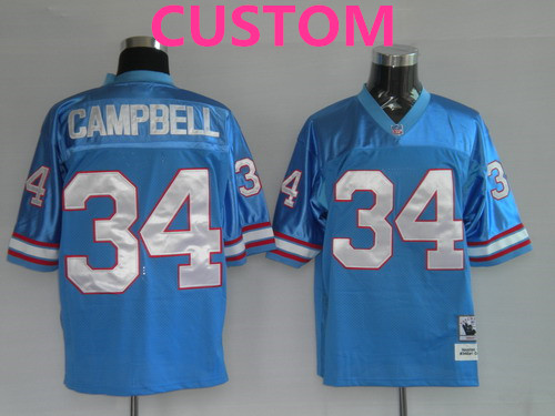 Men's Houston Oilers Custom Light Blue Throwback Jersey