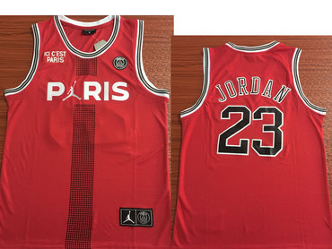 Paris Saint-Germain #23 Michael Jordan Red Jordan Fashion Jersey