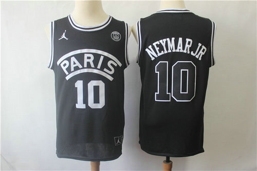 Paris Saint-Germain #10 Neymar Jr Black Jordan Fashion Jersey