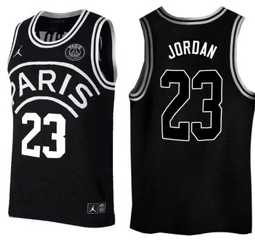 Paris Saint-Germain #23 Michael Jordan Black Jordan Fashion Jersey