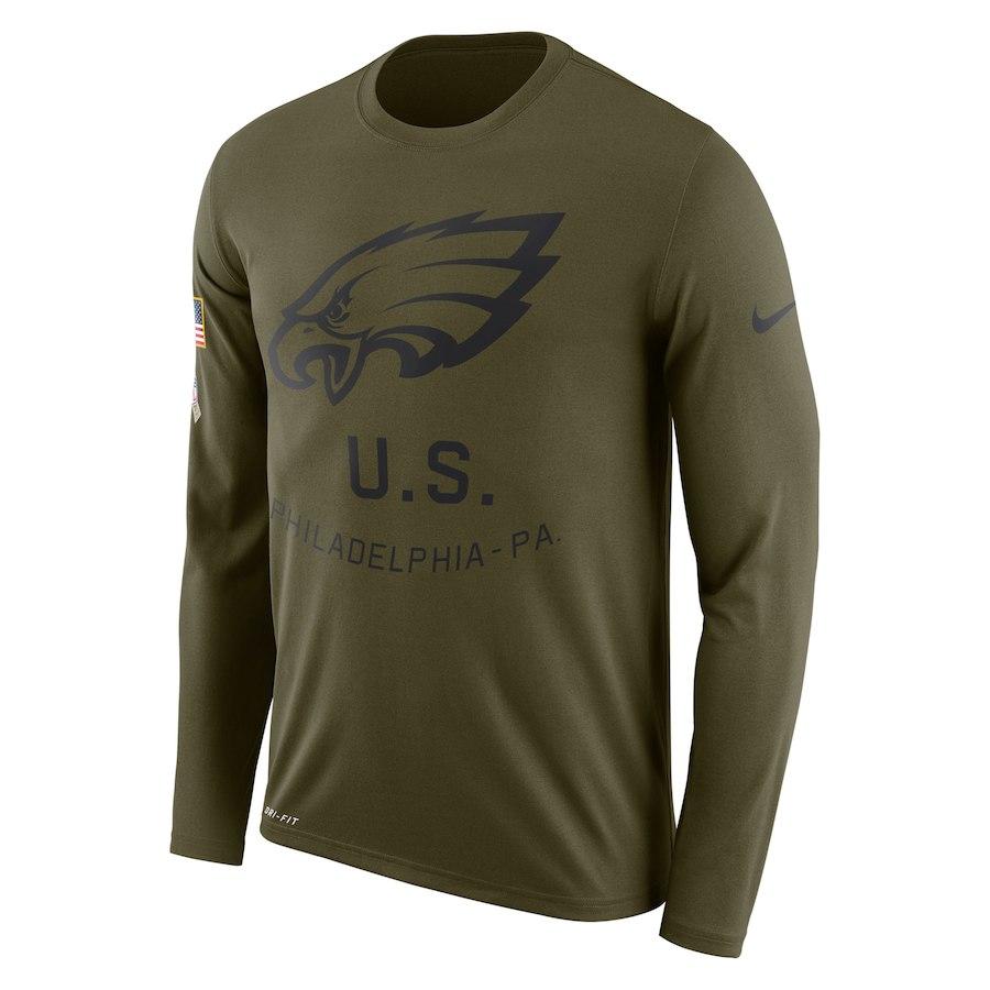 Philadelphia Eagles Nike Salute To Service Sideline Legend Performance Long Sleeve T-Shirt Olive