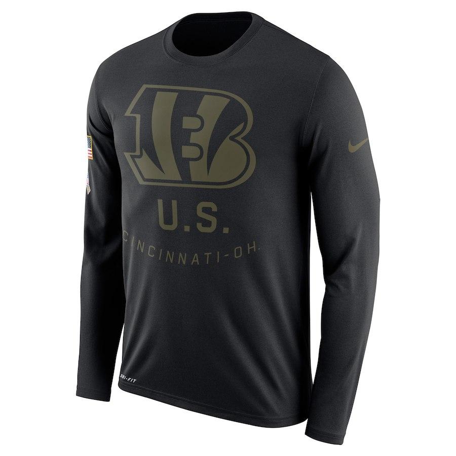 Cincinnati Bengals Nike Salute To Service Sideline Legend Performance Long Sleeve T-Shirt Black