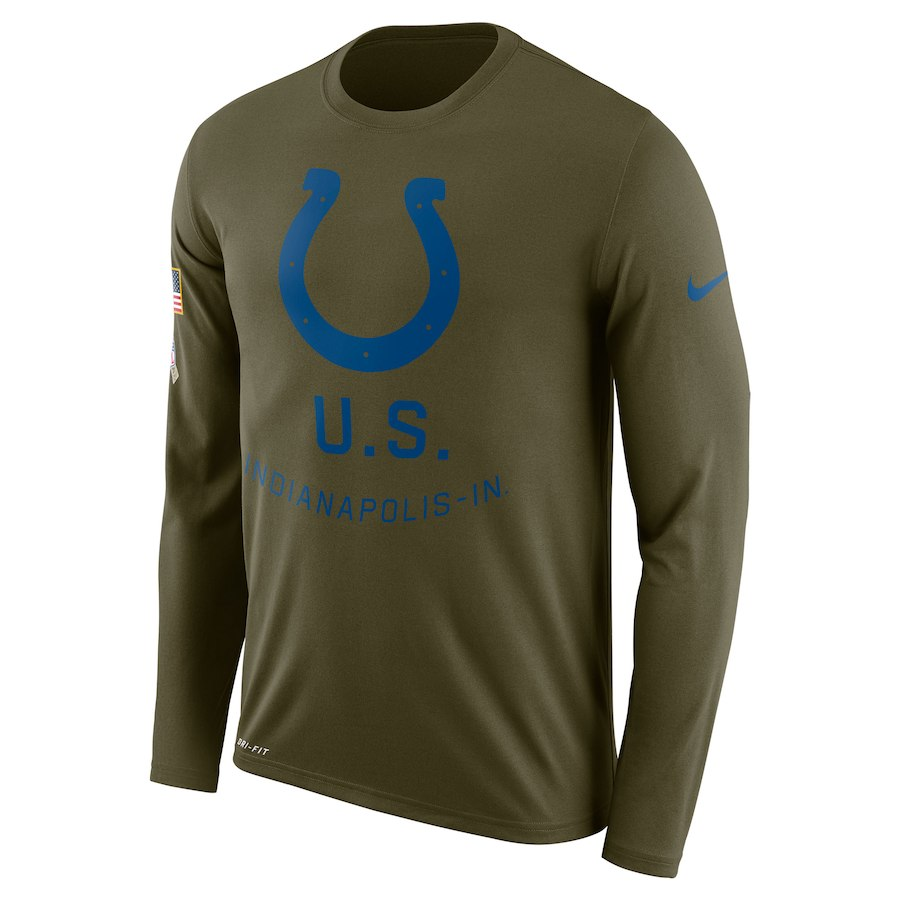 Indianapolis Colts Nike Salute To Service Sideline Legend Performance Long Sleeve T-Shirt Olive