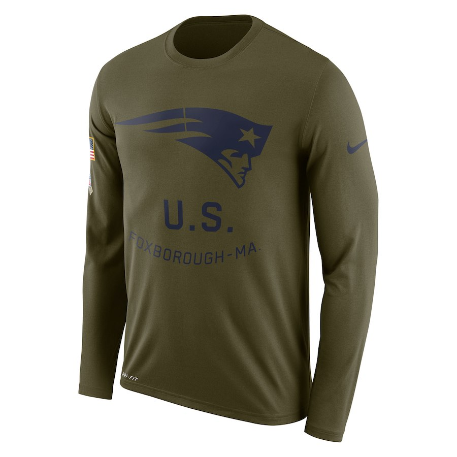 New England Patriots Nike Salute To Service Sideline Legend Performance Long Sleeve T-Shirt Olive
