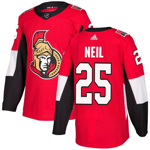 Men's Adidas Ottawa Senators #25 Chris Neil Red Home Authentic Stitched NHL Jersey