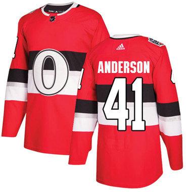 Kid Adidas Senators 41 Craig Anderson Red Authentic 2017 100 Classic Stitched NHL Jersey