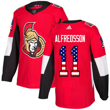 Kid Adidas Senators 11 Daniel Alfredsson Red Home Authentic USA Flag Stitched NHL Jersey