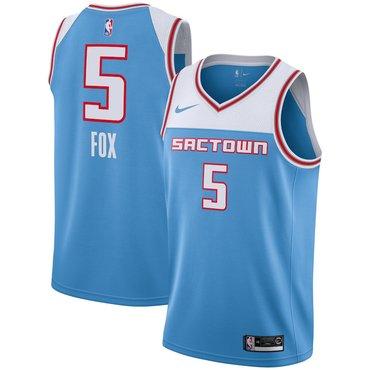 Men's Nike Sacramento Kings #5 De'Aaron Fox Blue NBA City Edition Jersey