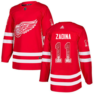 Men's Detroit Red Wings #11 Filip Zadina Authentic Adidas Drift Fashion Red Jersey