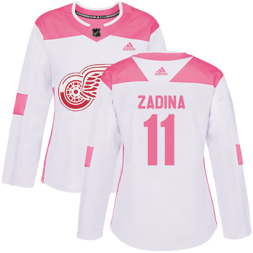 Women's  Detroit Red Wings #11 Filip Zadina Authentic Adidas White Pink Fashion Jersey