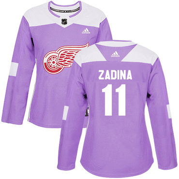 Women's Detroit Red Wings #11 Filip Zadina Authentic Adidas Purple Fights Cancer Practice Jersey