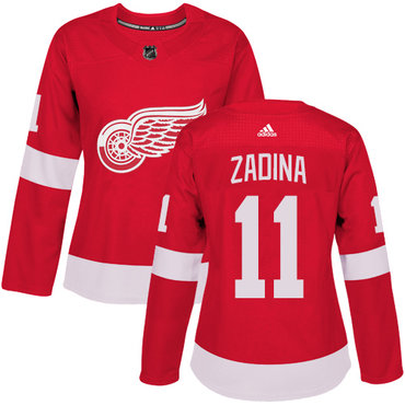 Women's Detroit Red Wings #11 Filip Zadina Premier Adidas Red Home Jersey