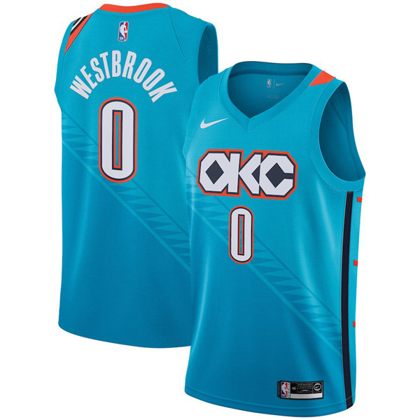 Nike NBA Oklahoma City Thunder #0 Russell Westbrook 2018-19 New Season City Edition Blue Jersey