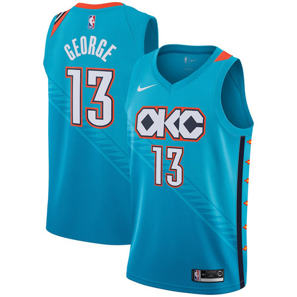 Nike NBA Oklahoma City Thunder #13 Paul George Jersey 2018-19 New Season City Edition Blue Jersey