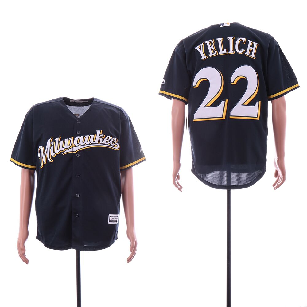 Men's Milwaukee Brewers #22 Christian Yelich Navy Cool Base Jersey