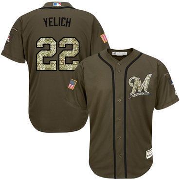 Men's Milwaukee Brewers #22 Christian Yelich Green Salute to Service Stitched MLB Jersey