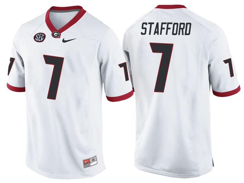 NCAA Georgia Bulldogs #7 Matthew Stafford White College Football Jersey