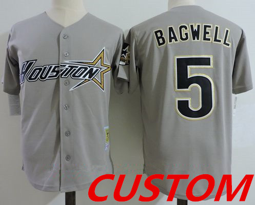 Custom Men's Houston Astros Gray Road 1997 Throwback Cooperstown Collection Stitched MLB Mitchell & Ness Jersey