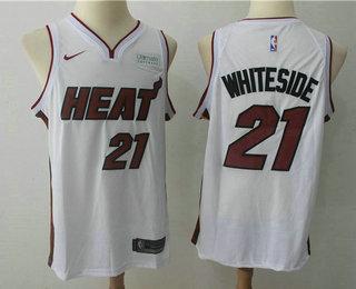 Men's Miami Heat #21 Hassan Whiteside White 2017-2018 Nike Swingman Ultimate Software Stitched NBA Jersey