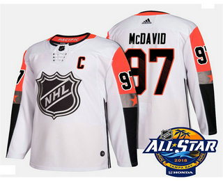 Men's Edmonton Oilers #97 Connor McDavid White 2018 NHL All-Star Stitched Ice Hockey Jersey