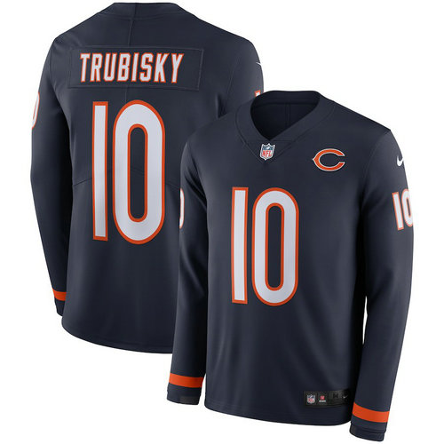 Men Nike Chicago Bears 10 Mitchell Trubisky blue Therma Long Sleeve Jersey
