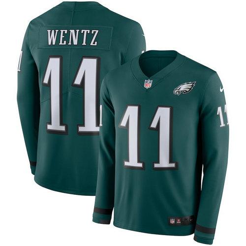 Men Nike Philadelphia Eagles 11 Carson Wentz green Therma Long Sleeve Jersey