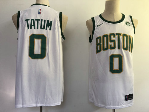 Nike Celtics 0 Jayson Tatum White City Edition Swingman Jersey